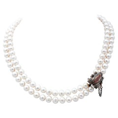 Diamonds, Rubies, Sapphires, Pearls, 9Kt Rose Gold and Silver Beaded Necklace
