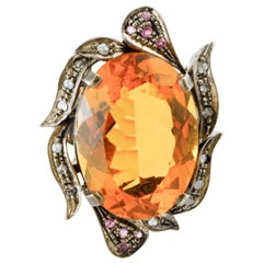 Diamonds, Rubies, Topaz, Rose Gold and Silver Retrò Fashion Ring