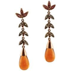 Diamonds, Rubies, Topazes, 9 Karat Rose Gold and Silver Dangle Earrings
