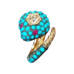 Diamonds Rubies Turquoise Rose and Silver Gold Snake Ring