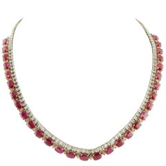 Diamonds Rubies White and Rose Gold Necklace