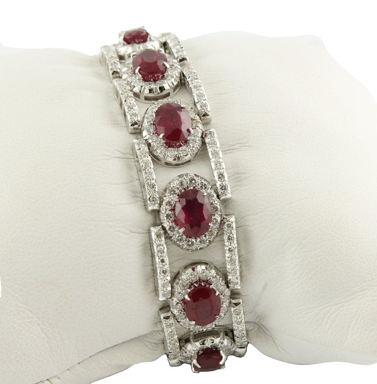 Modern Diamonds Rubies White Gold Link Bracelet For Sale