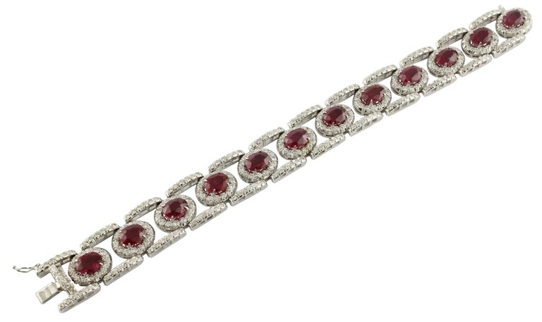Diamonds Rubies White Gold Link Bracelet In Excellent Condition For Sale In Marcianise, Caserta
