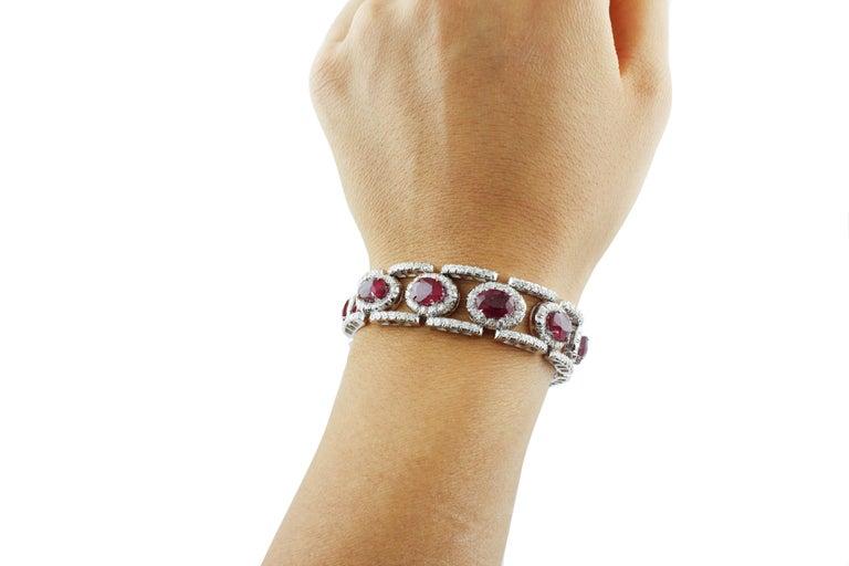 Diamonds Rubies White Gold Link Bracelet For Sale 1