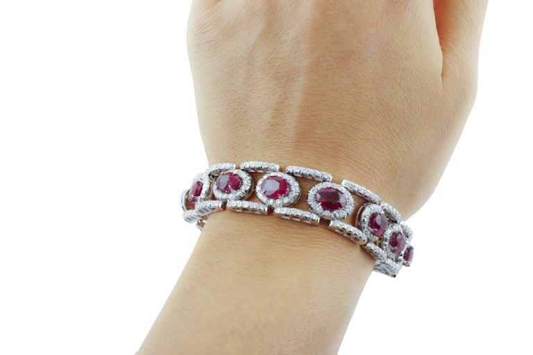 Diamonds Rubies White Gold Link Bracelet For Sale 2