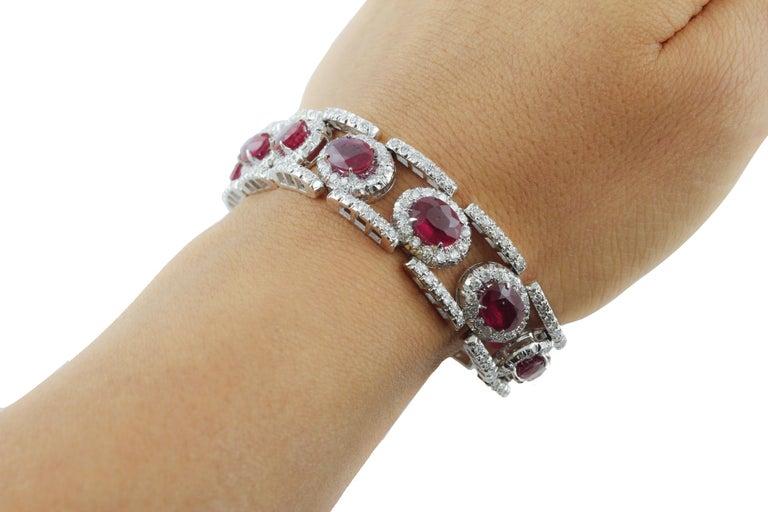Diamonds Rubies White Gold Link Bracelet For Sale 3