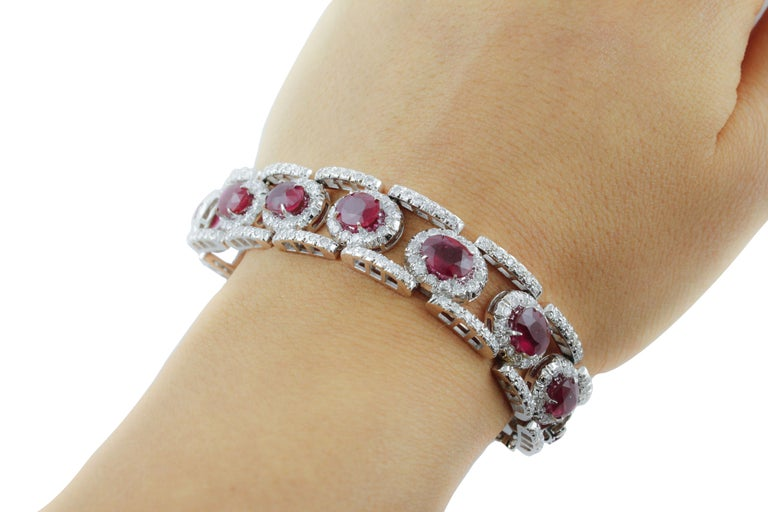 Diamonds Rubies White Gold Link Bracelet For Sale 4