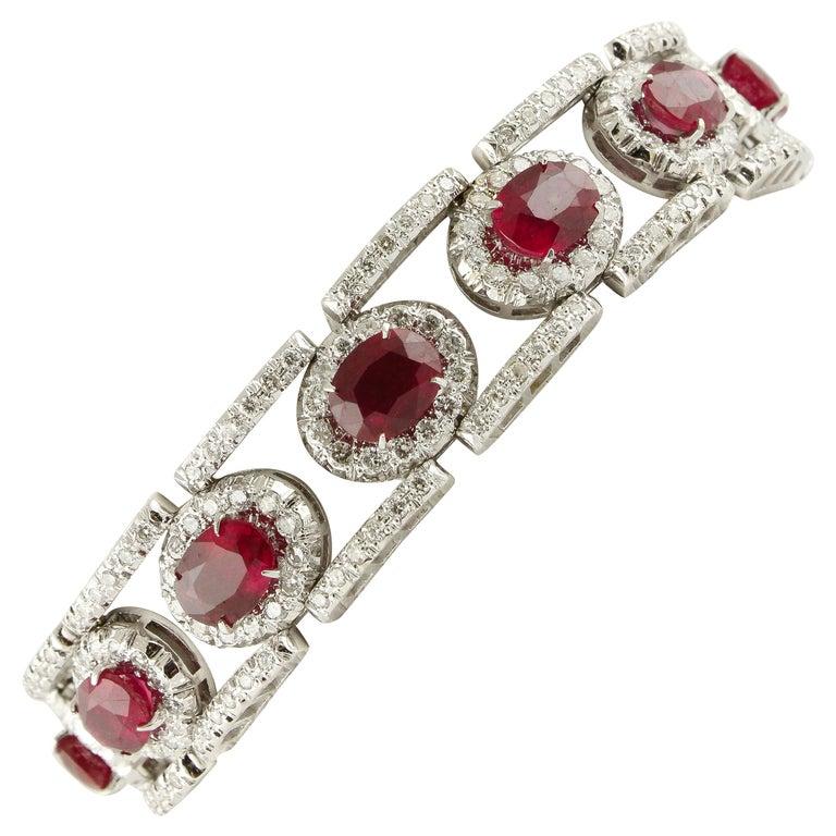 Diamonds Rubies White Gold Link Bracelet For Sale