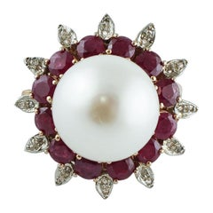 Diamonds, Rubies, White Pearl, Rose Gold and Silver Cluster Flower Ring