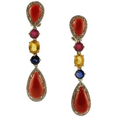 Diamonds,Rubies, Yellow/Blue Sapphires, Red Coral Drops 18K Gold Dangle Earrings