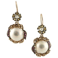 Diamonds Rubies Yellow Sapphires Pearls Rose Gold and Silver Earrings