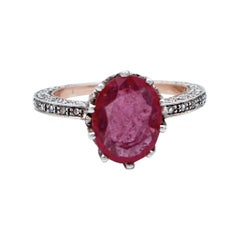 Diamonds, Ruby, 14 Karat Rose Gold and Silver Retrò Ring
