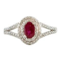 Diamonds, Ruby, 18 Karat White Gold Modern Ring