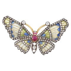 Diamonds Ruby Color Enamel Butterfly 18 Karat Gold Floral Pin Brooch