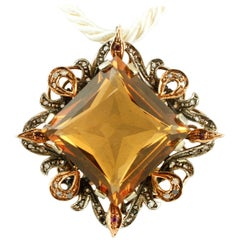 Diamonds, Ruby, Hard Stone 9 Karat Rose Gold and Silver Retro Pendant