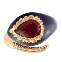 Diamonds, Ruby, Lapis, Rose Gold Snake Shape Fashion Ring