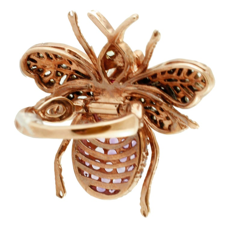 Retro Diamonds, Ruby, Peridots, Amethysts, Rose Gold and Silver Fly Shape Retrò Ring For Sale