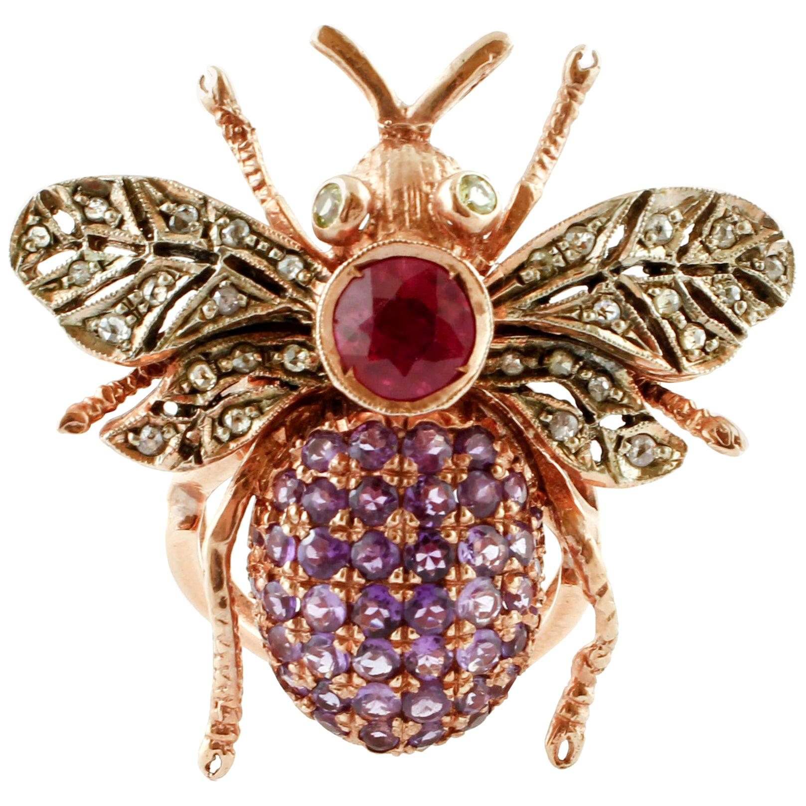 Diamonds, Ruby, Peridots, Amethysts, Rose Gold and Silver Fly Shape Retrò Ring