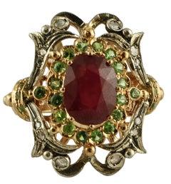Diamonds, Ruby, Tsavorite, 9 Karat Rose Gold and Silver Retro Ring