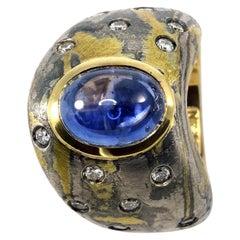 Diamonds Blue Sapphire 18 Karat Gold Sterling Silver Paladium Dome Ring