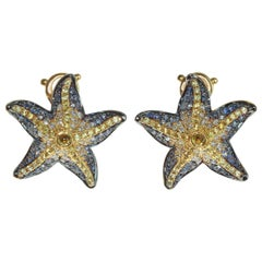 Diamonds Sapphire 18 Karat Yellow Gold Sea Star Earrings