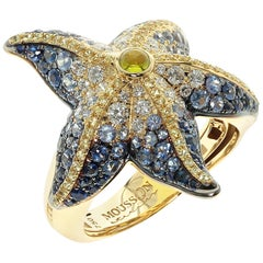 Diamonds Sapphire 18 Karat Yellow Gold Sea Star Ring