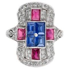 Diamonds Sapphire and Ruby Platinum Art Deco Ring