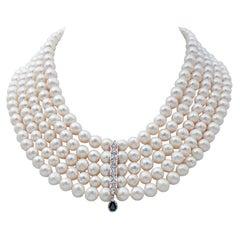 Diamonds, Sapphire, Pearls, Platinum Necklace