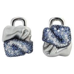 Diamonds Sapphires 18 Karat White Gold Earrings