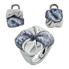 Diamonds Sapphires 18 Karat White Gold Suite