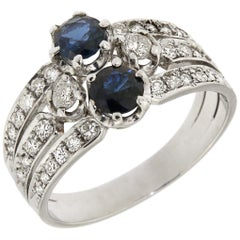 Diamonds Sapphires 18 Karat White Gold Vintage Ring Handcrafted in Italy