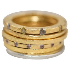 Diamonds Sapphires 18k 22k Gold Fashion or Engagement Ring Stack Her His Gift