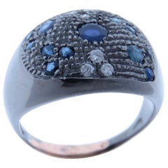Diamonds Sapphires 9 Karat Rose Gold Sterling Silver Dome Ring Made in Italy