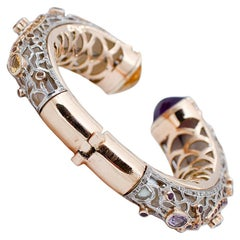 Diamonds Sapphires Amethysts Topazs Mother of Pearl 9kt Gold and Silver Bracelet