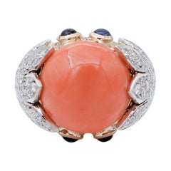 Diamonds, Sapphires, Coral, 18 Karat Yellow and White Gold Ring