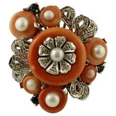 Diamonds, Sapphires, Coral, Pearls, 14 Karat White Gold Vintage Ring