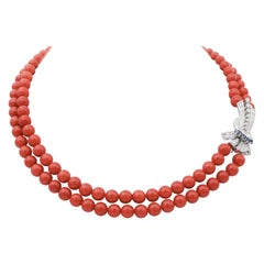 Diamonds, Sapphires, Coral, Platinum Multi-Strands Necklace