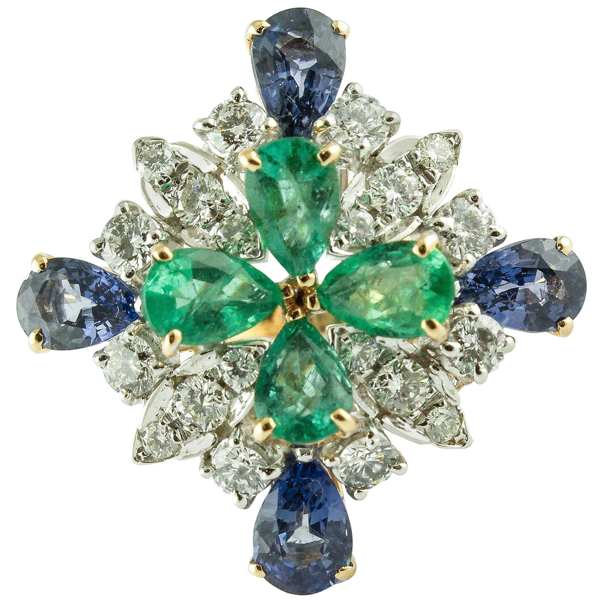 Diamonds Sapphires Emeralds Rose Gold Ring