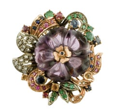 Diamonds Sapphires Emeralds Rubies Amethyst 9 Karat Gold and Silver Retro Ring