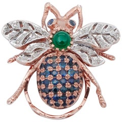 Diamonds, Sapphires, Green Agate, 9 Karat Rose Gold and Silver Fly Shape Ring