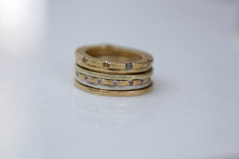 Modern Diamonds Sapphires in 18K and 22K Gold Bridal Wedding Ring, Stack #4 Her Gift  For Sale