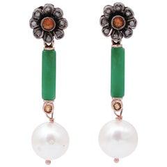 Diamonds, Sapphires, Jade, Pearls, 9 Karat Rose Gold and Silver Dangle Earrings