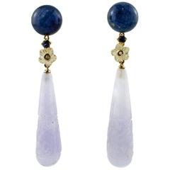 Diamonds, Sapphires, Mother of Pearl, Kyanite, Stones, 14 Karat Gold Earrings