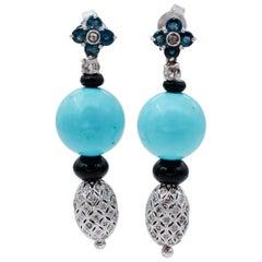 Diamonds, Sapphires, Onyx, 14 Karat White Gold Dangle Earrings
