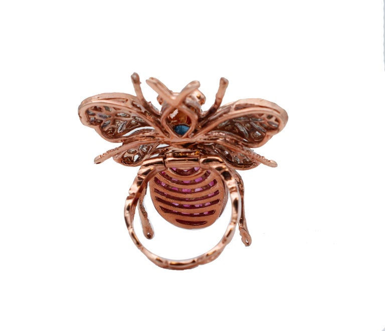 Mixed Cut Diamonds, Sapphires, Rubies, 9 Karat Rose Gold and Silver Fly Shape Ring For Sale