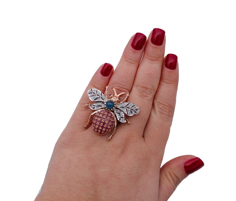 Women's Diamonds, Sapphires, Rubies, 9 Karat Rose Gold and Silver Fly Shape Ring For Sale