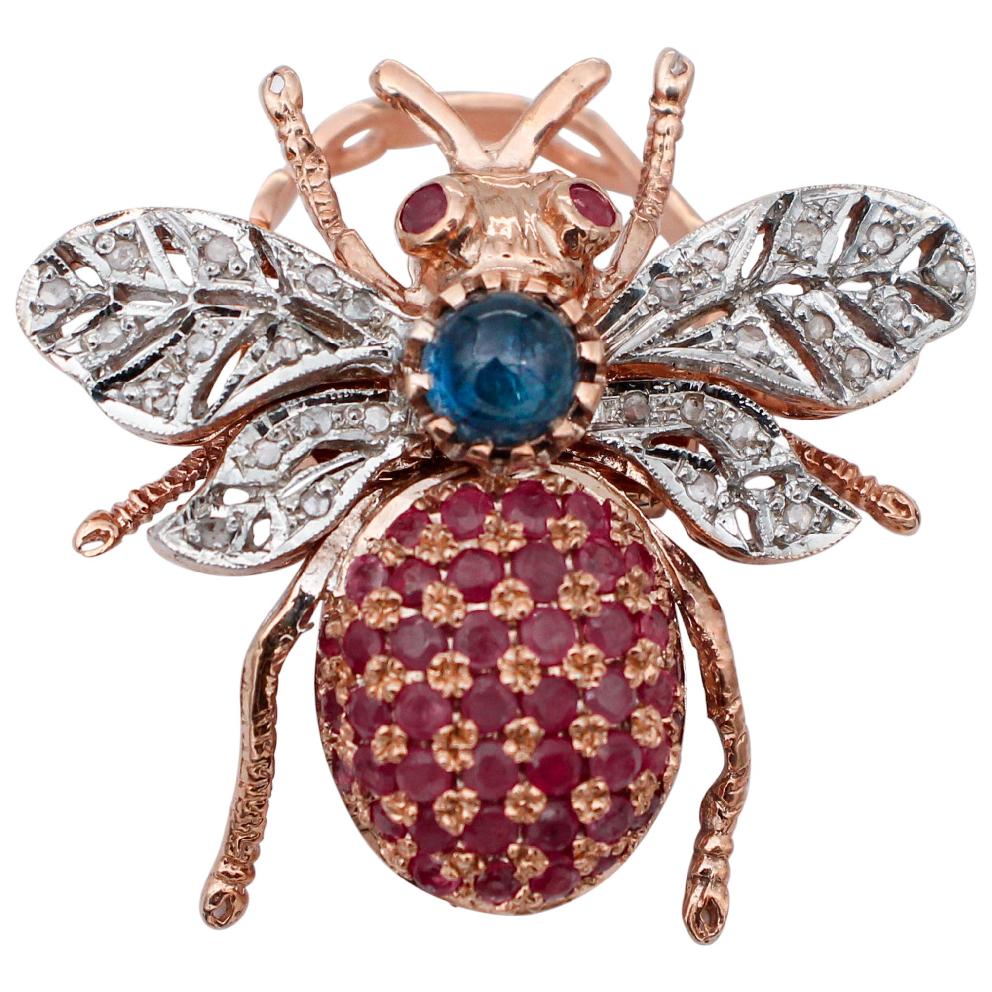 Diamonds, Sapphires, Rubies, 9 Karat Rose Gold and Silver Fly Shape Ring