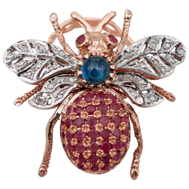 Diamonds, Sapphires, Rubies, 9 Karat Rose Gold and Silver Fly Shape Ring For Sale