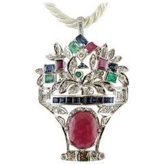 Diamonds, Sapphires, Rubies, Emeralds, 14 Karat White Gold Brooch/Pendant