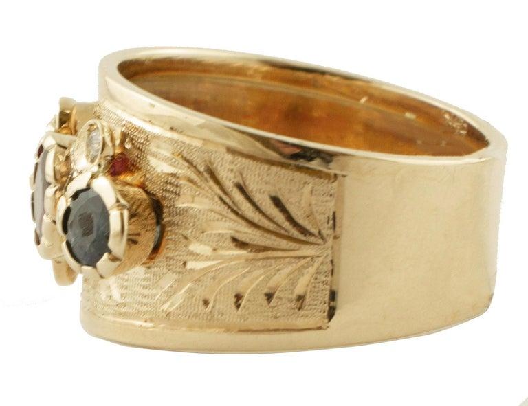 Retro Diamonds, Sapphires, Rubies, Emeralds, 14 Karat Yellow Gold Band Ring For Sale